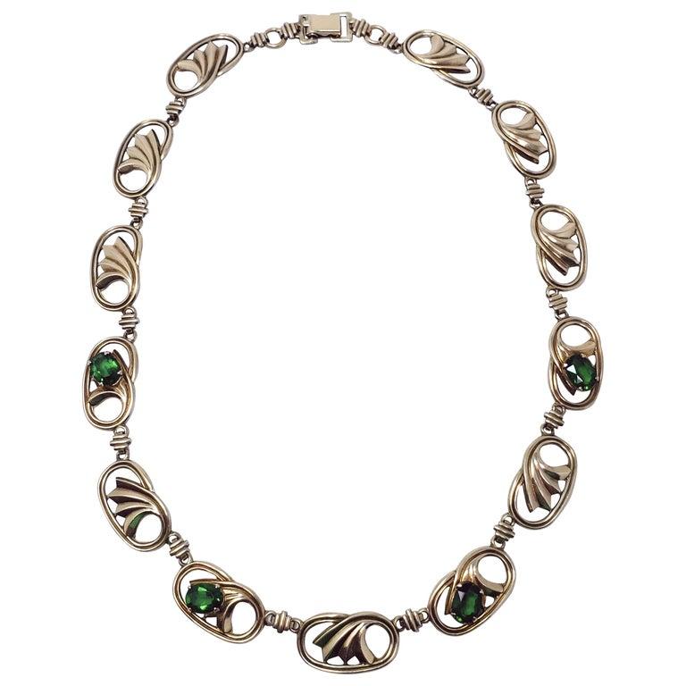 Vintage 14K Gold & Silver Green Crystal Symmetalic Sterling Choker Necklace  15