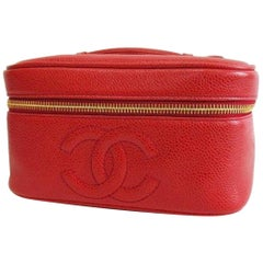 Vintage CHANEL lipstick red caviar cosmetic and toiletry pouch. Classic purse.
