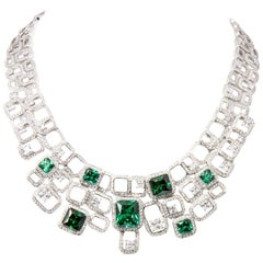 Siledium Silver Rhodium Palladium Plating White Emerald Color Necklace by Feri