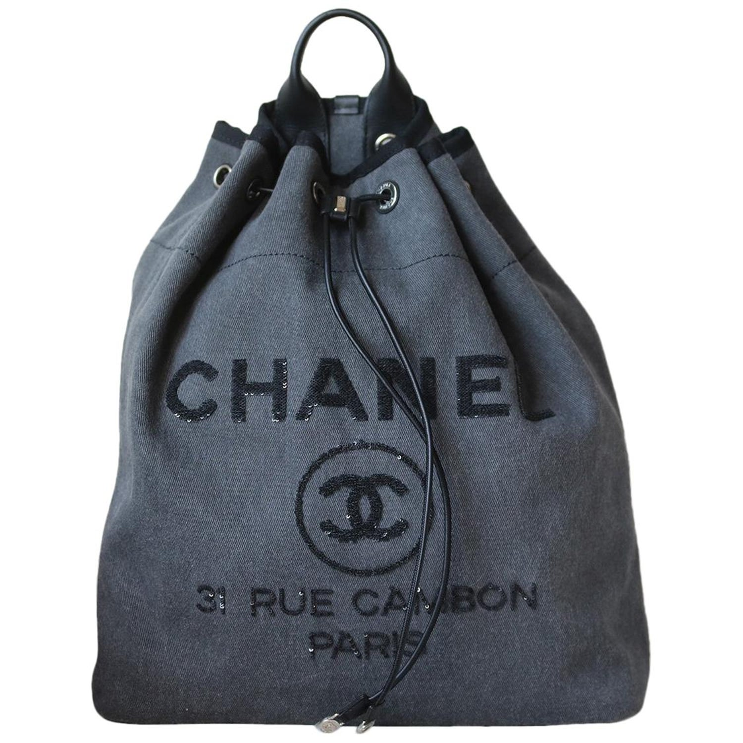 8f8eb467ddc9 Chanel Deauville Canvas Drawstring Backpack at 1stdibs