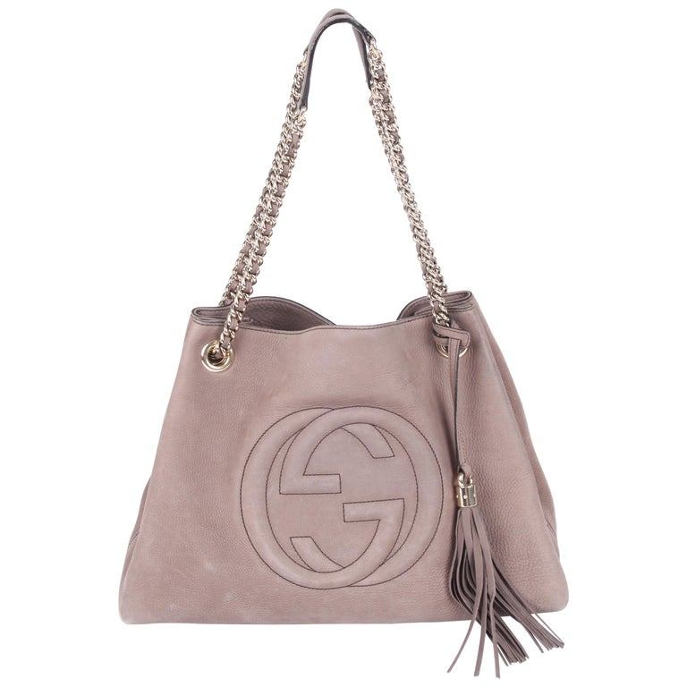 119e183036d Gucci Medium Soho Tote Bag - taupe suede at 1stdibs