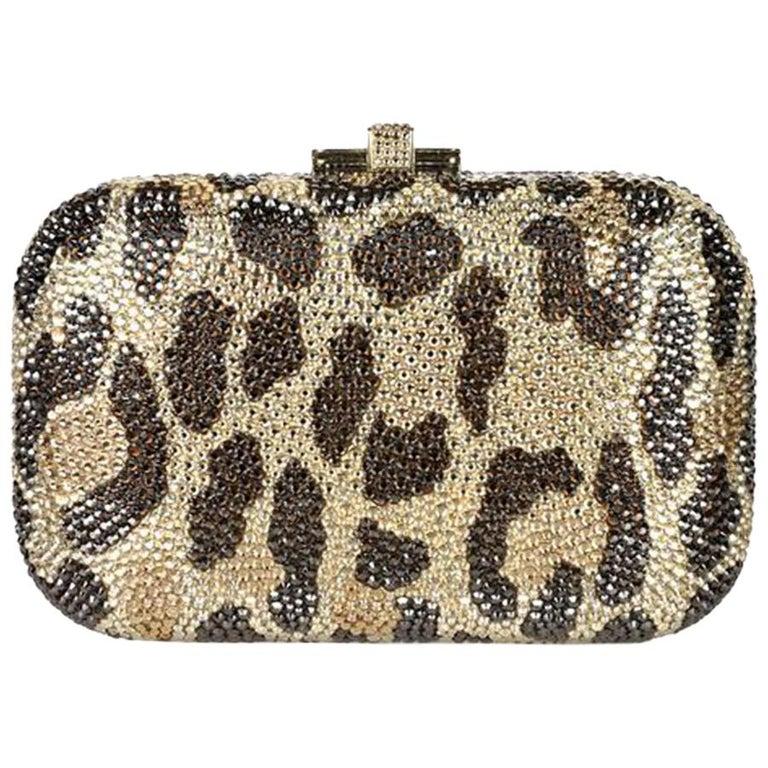 Judith Leiber Leopard-Print Fine-Crystal Embellished Clutch For Sale