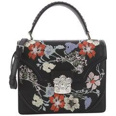 Alexander McQueen Flower Satchel Embroidered Leather Medium