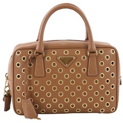 Prada Grommet Bauletto Bag Saffiano Leather Small