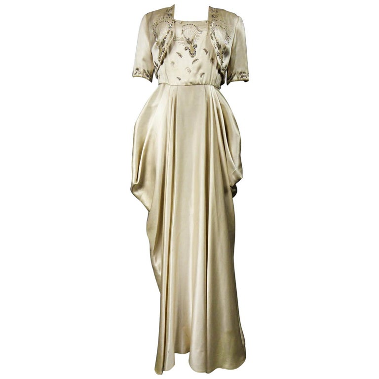 Pierre Balmain evening dress Bolero and purse Circa 1950 For Sale