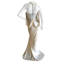 Alexander McQueen Daring Ivory Duchesse Silk Satin Evening or Wedding Dress