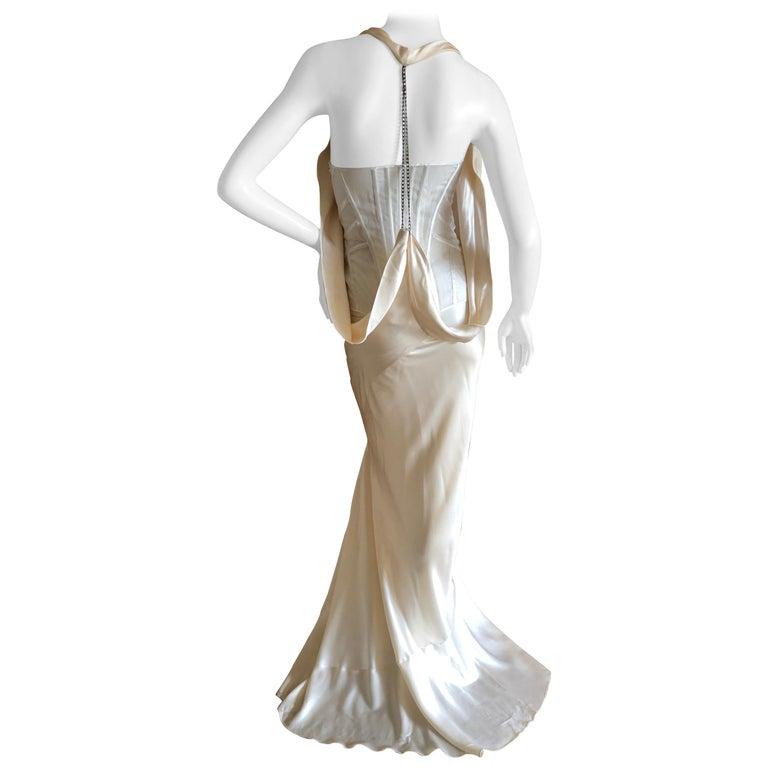 Alexander McQueen Daring Ivory Duchesse Silk Satin Evening or Wedding Dress For Sale