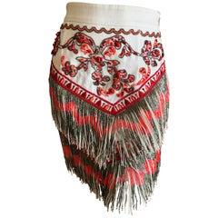 Emilio Pucci Amazing Coral Embellished Bead Fringed Skirt