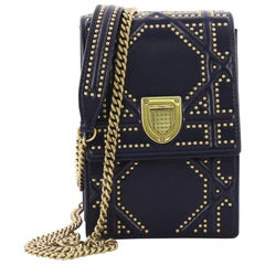 Christian Dior Diorama Vertical Clutch on Chain Studded Leather