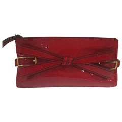 Valentino Red Patent Leather Handle Bag / Clutch