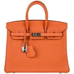 Hermes Birkin 25 Bag Iconic H Orange Treasure Togo Palladium