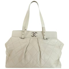 Chanel Ivory Quilted Leather CC Twist Lock Tote Bag
