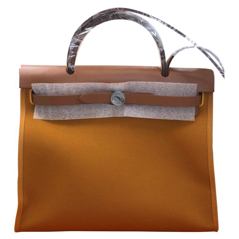 1a5afcadc600 ... shopping hermes bag herbag 31 toile officier vache hunter safran fauve  for sale 4b650 8f959