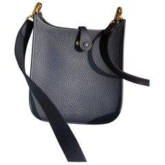 Hermes Bag Evelyne Mini Taurillon Clemence Bleu Nuit/Bleu Indigo GHW