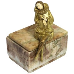 Art Deco Pierette Sculpture on Marble Box after Sculptor Paul Phillipe