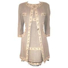 Chanel Luxe Beige Beaded W/ Trim  Woven Linen Long Jacket Coat & Dress Suit