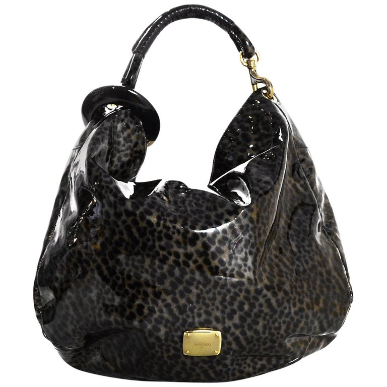 7884b9470aa8 Jimmy Choo Leopard Metallic Print Patent Leather Bracelet Hobo Bag For Sale  at 1stdibs
