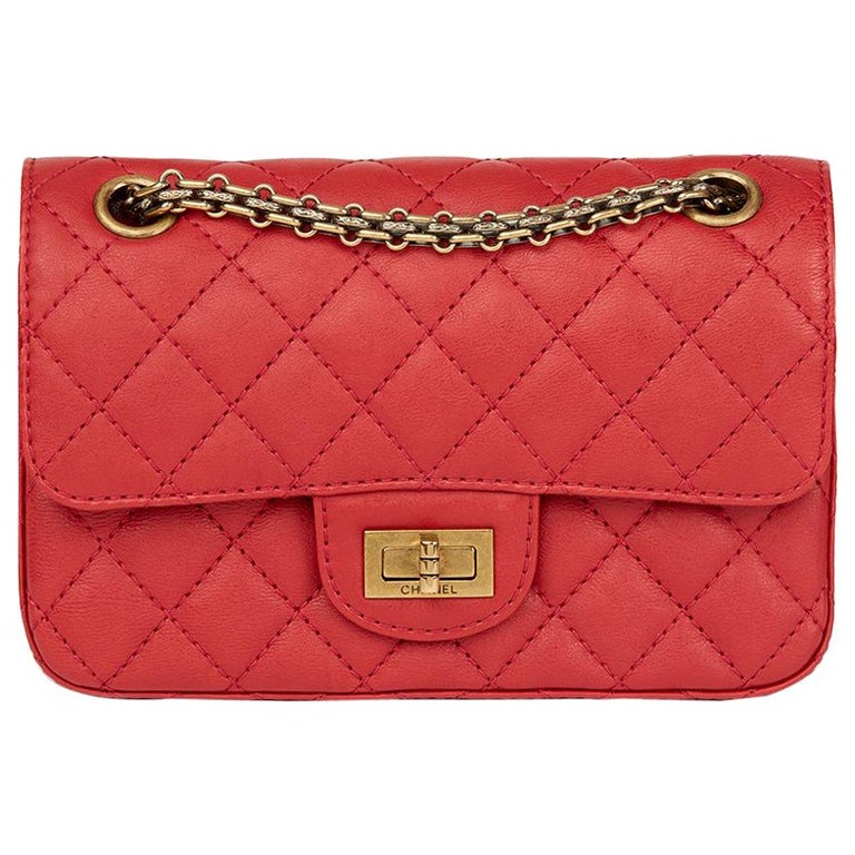 2017 Chanel Red Quilted Calfskin Leather 2.55 Reissue 224 Double Flap Bag