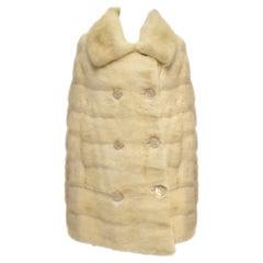 1950s Ben Kahn Pearl Mink Cape Coat w/ Pearlescent Lucite & Rhinestone Buttons