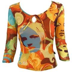 Amazing 1990s Does 1970s French Made Novelty Print Covergirl Vintage 90s Shirt
