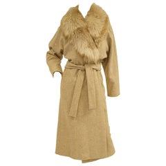 1970s Bill Blass Plush Mink Collar Wool Wrap Coat for Neiman Marcus