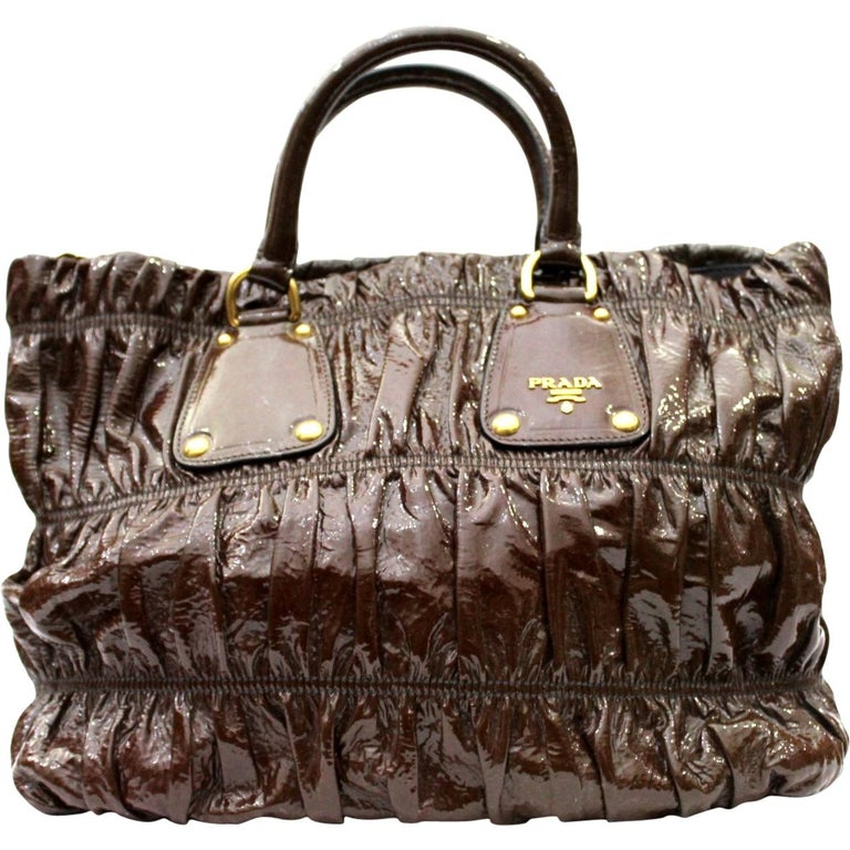 Prada Ematite Vernice Gaufrè Leather  For Sale