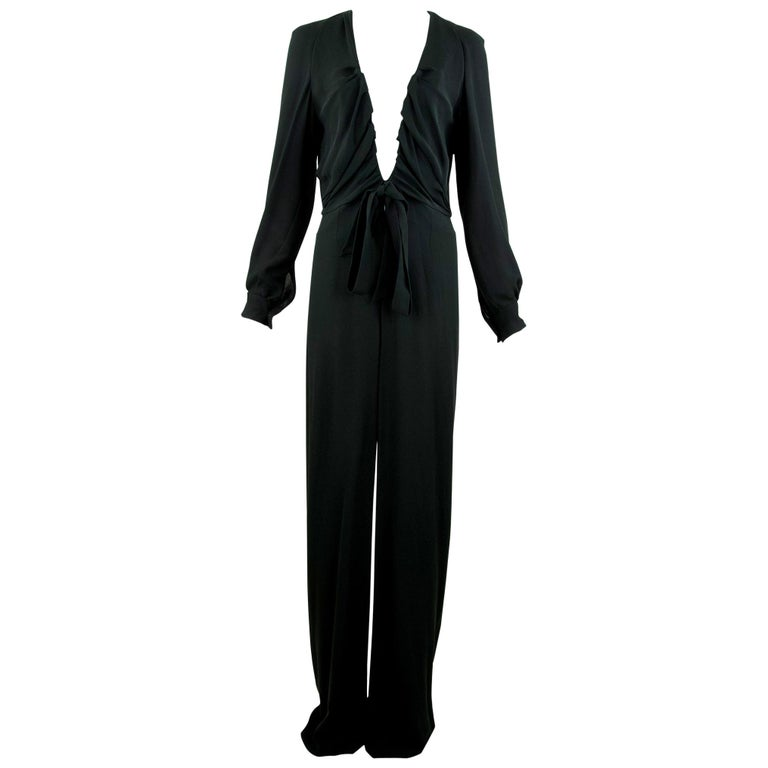 Chloe Black Low V-Neck Jumpsuit - Size FR  40
