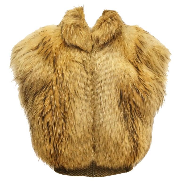 1980s Golden Brown Fur Puffer Vest For Sale
