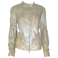 Escada Iridescent Embossed Taupe & Silver Tone Lambskin Leather  Jacket