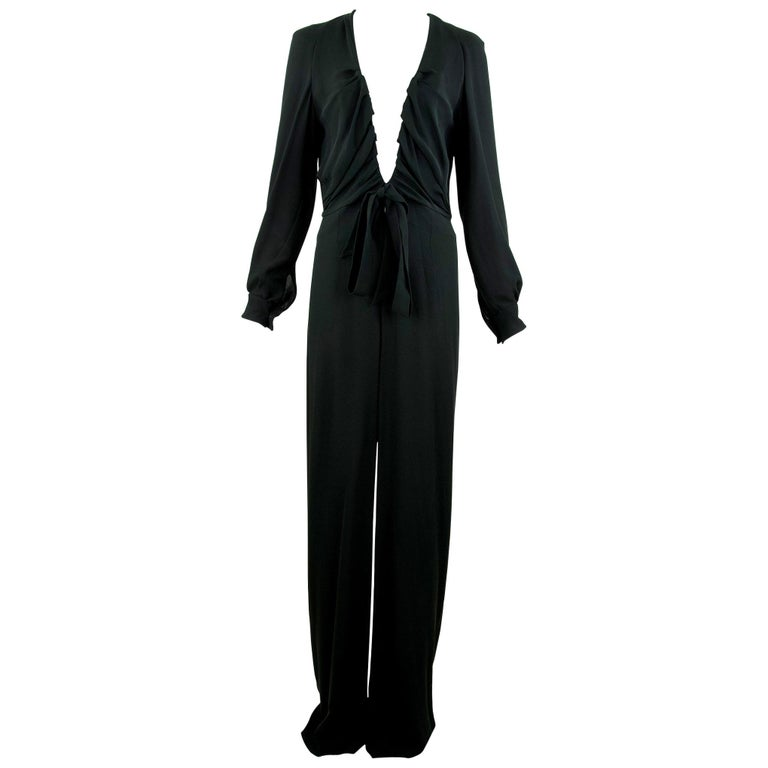 Chloe Black Low V-Neck Jumpsuit - Size FR  38 For Sale
