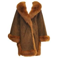 1970s Italian Beltrami Chestnut Suede and Fox Coat