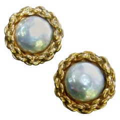 Chanel Glass Pearl Gilt Metal Clip On Button Earrings circa 1990s