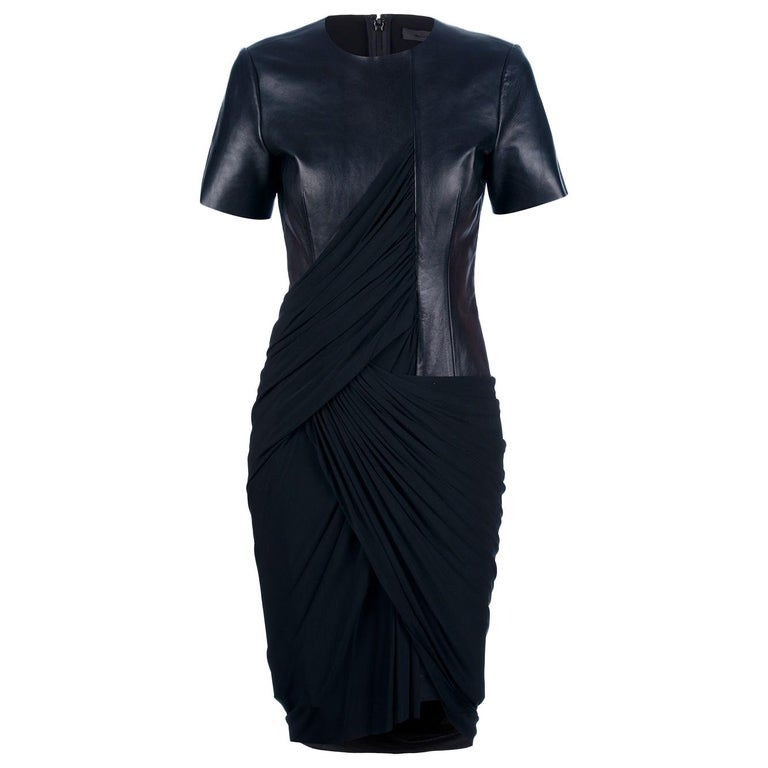 e054930bb9f Alexander Wang Black Leather and Draped Jersey Dress - 0 at 1stdibs