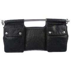 Prada Black Ostrich Leather Metal Top Handle Bar 2 in 1 Clutch Shoulder Bag