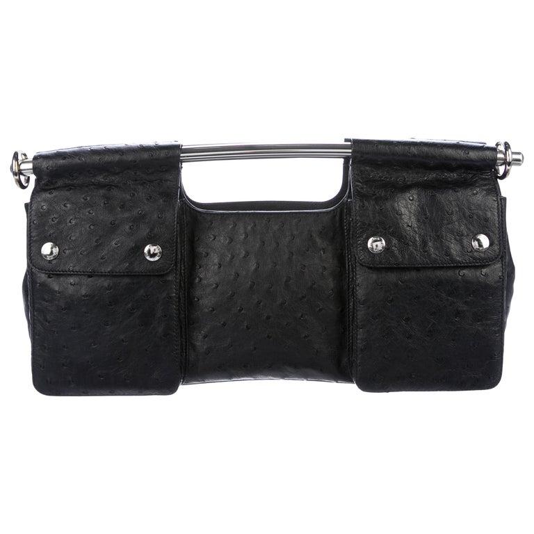 5130cbc2df11 Prada Black Ostrich Leather Metal Top Handle Bar 2 in 1 Clutch Shoulder Bag  For Sale