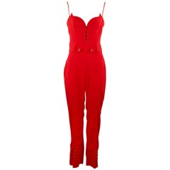 Mugler Red Jumpsuit with Silver Hardware - Size FR 38