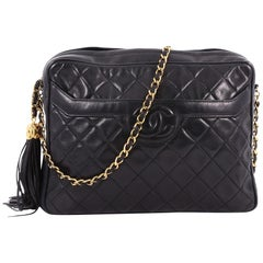 Chanel Vintage Camera Tassel Bag Quilted Leather Large