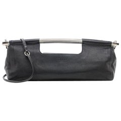 Prada Black Leather Metal Top Handle Bar 2 in 1 Clutch Shoulder Bag
