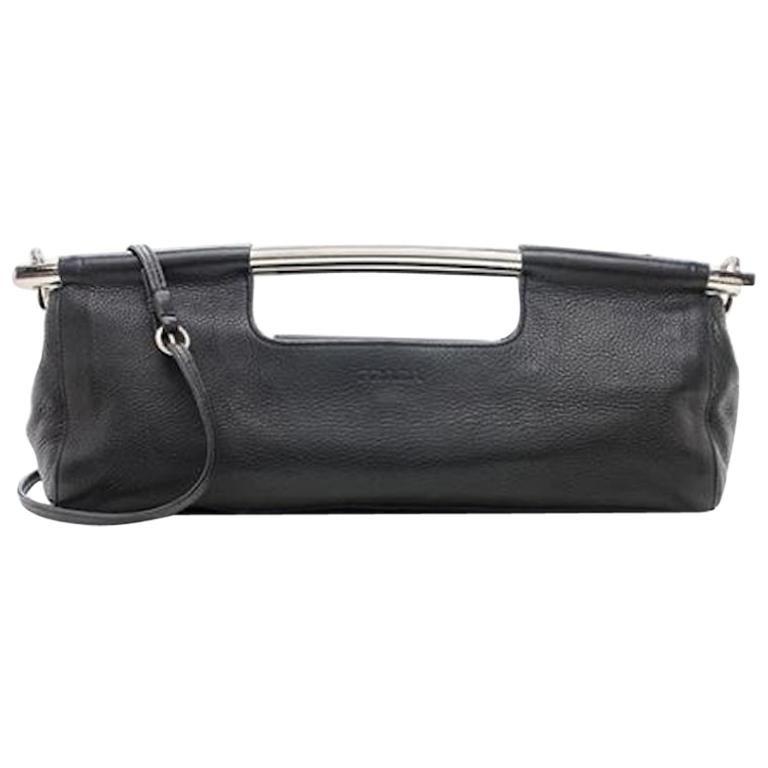 Prada Black Leather Metal Top Handle Bar 2 in 1 Clutch Shoulder Bag For Sale