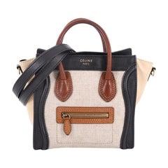 Celine Tricolor Luggage Handbag Canvas and Leather Nano