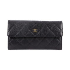 Chanel CC Gusset Flap Wallet Quilted Caviar Long