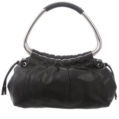 Prada Black Leather Silver Metal Top Handle Small Party Evening Satchel Bag