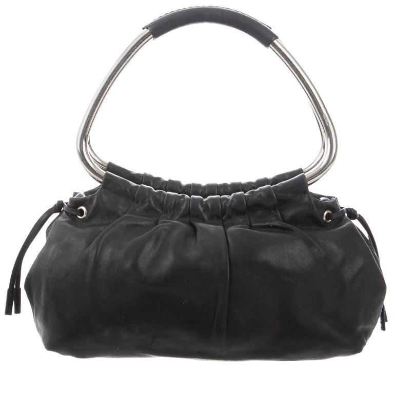 Prada Black Leather Silver Metal Top Handle Small Party Evening Satchel Bag