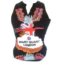 Mary Quant London Black Sleeveless Cotton Top Circa 2003