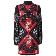 Alexander Mcqueen Red and black Silk Floral Shift Dress - 2