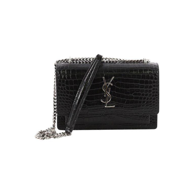 482ce25611 Saint Laurent Sunset Chain Wallet Crocodile Embossed Leather