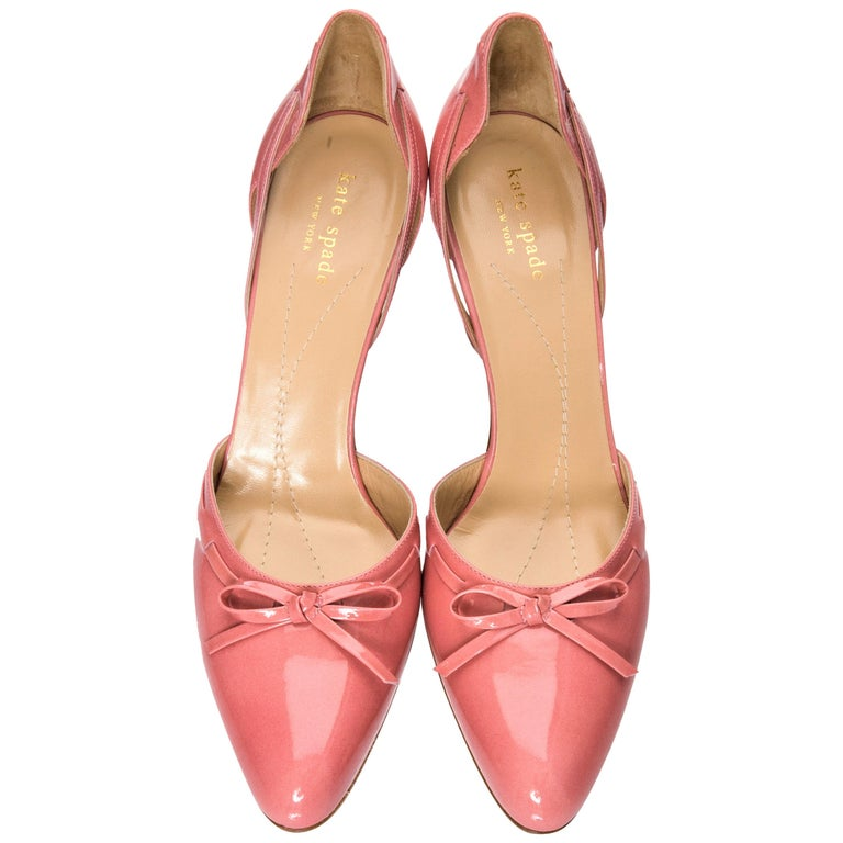 New Kate Spade Her Spring 2005 Collection Peach Patent Leather Heels Pumps  Sz 10 For Sale b8db6dc50d35