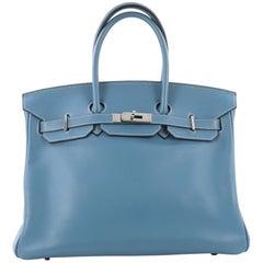 Hermes Birkin Handbag Blue Jean Swift with Palladium Hardware 35