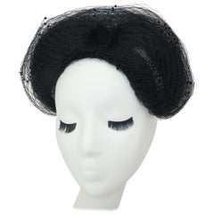 C.1950 Black Net Swiss Dot Fascinator Hat