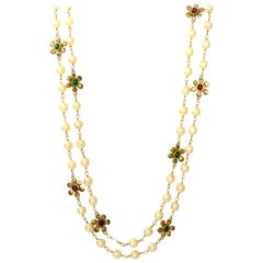 Chanel '80s X-Long Goldtone Faux Pearl & Red/Green Gripoix Flower Necklace